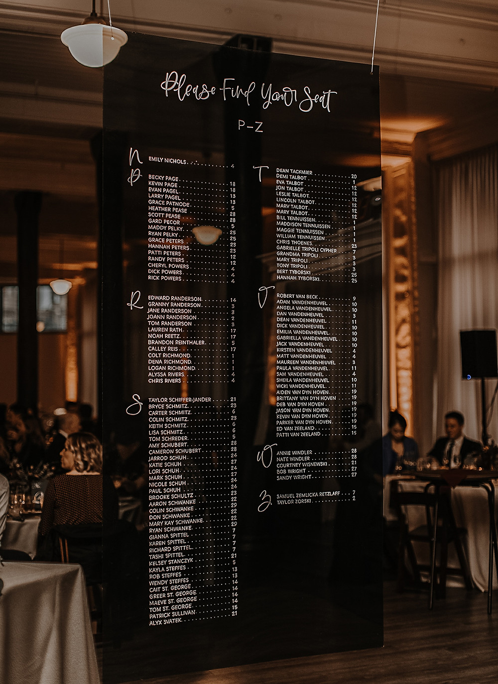 A large seating chart hangs hangs in a reception hall during a Milwaukee Wisconsin wedding
