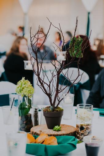 Potted mini trees tablescapes at beckets  atrium venue