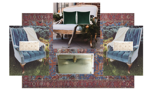 A digital mockup for a event,  showing blue velvet chairs, an oriental rug, and a white couch with green pillow, by Velvet Rentals in a Madison Wisconsin wedding