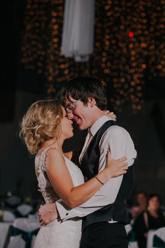 A man and woman share dance at their Oshkosh wedding venue