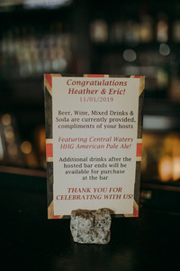 A close up of a drink menu for a intimate Milwaukee wedding at the Red Lion Pub