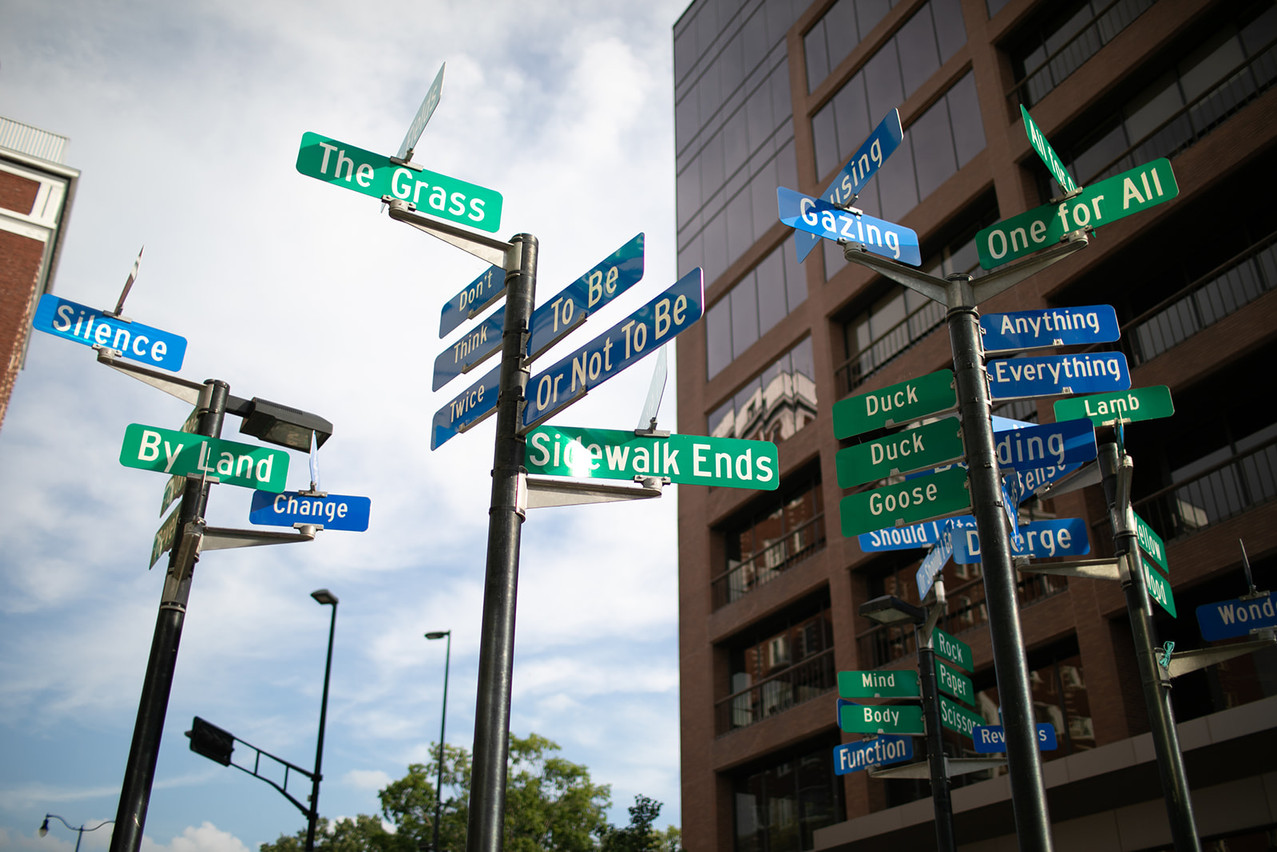 Street signs in an urban downtown Madison setting