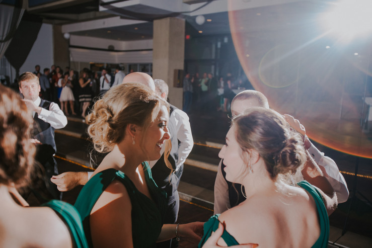 Guests dance in a beckets wedding