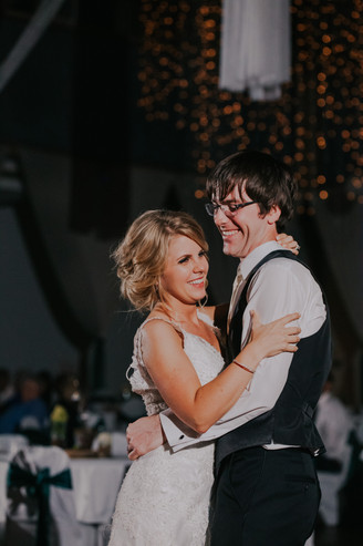 A bride and groom dance during their Beckets wedding