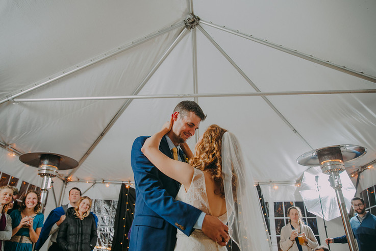 A bride and groom share their first dance during a Red Lion Pub wedding