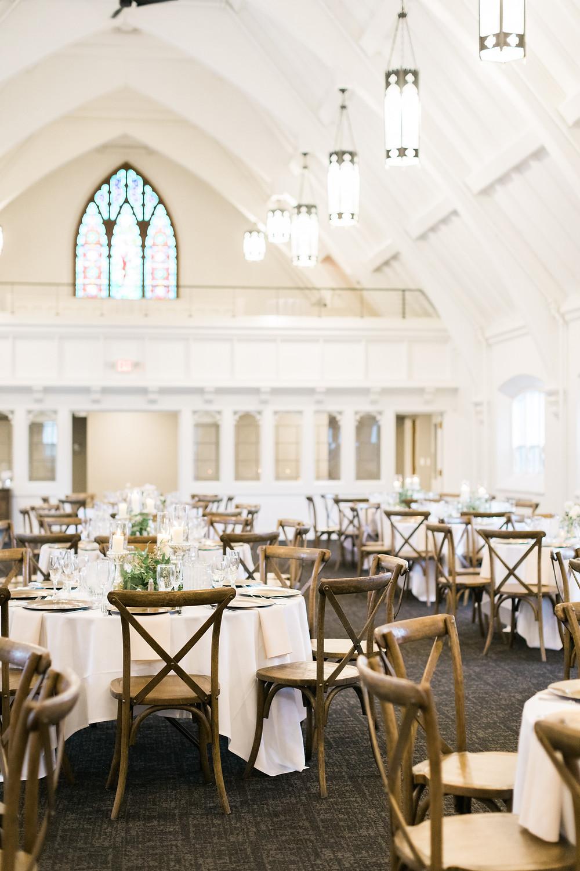 A reception setup at the Covenant at Murray Mansion wedding