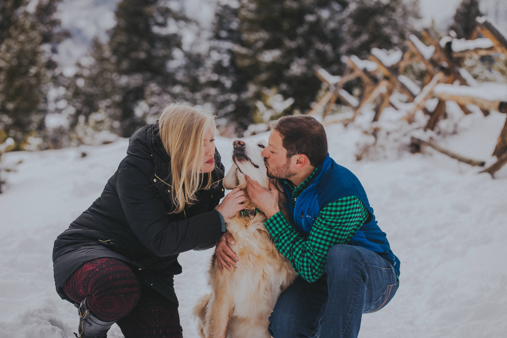 A man and woman kiss the face of a golden retriever during their Sapphire Point engagement session
