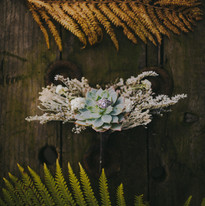A close up of a engagement ring surrounded by ferns at a Madison, Wisconsin wedding