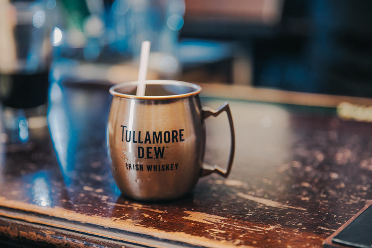 A close up of a Tullamore Dew whiskey at the Red Lion Pub