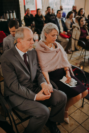 Guests sit during a Milwaukee wedding