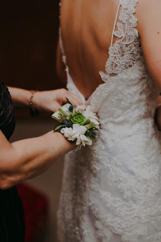 A closeup of a corsage