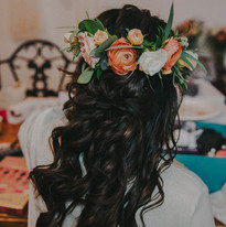 A close up of a brides hair and flower crown in a Madison Wisconsin wedding