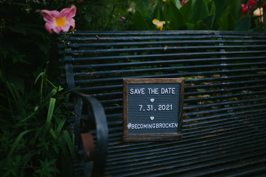 A save the date changeable letter sign for a Madison wedding