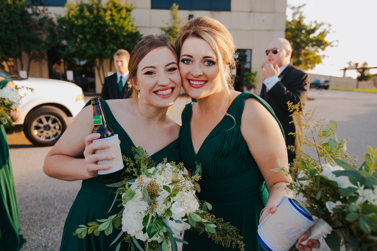 Bridesmaids pose during in front of Beckets waterfront venue