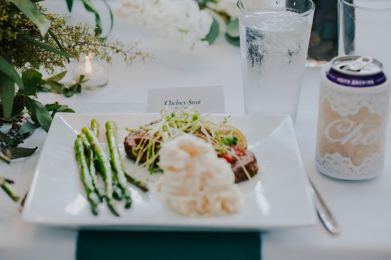 A plate of food during a atrium wedding in Oshkosh