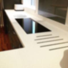 Corian worktop with hot rods installed b