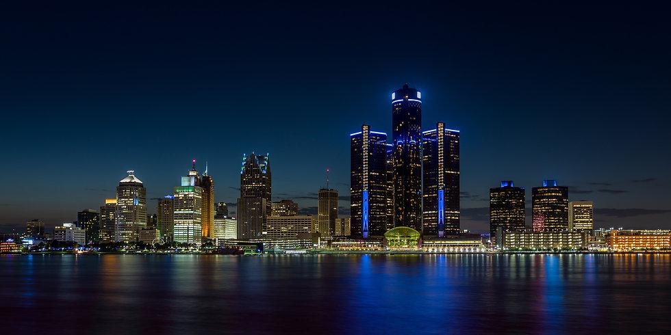 Detroit, Michigan skyline at night shot