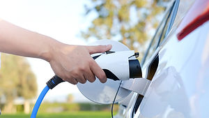 Electric car or ev is charging at statio