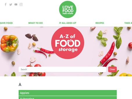 Food Storage A - Z.  LOVEFOODhatewaste