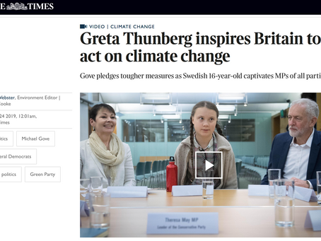 Greta Thunberg inspires Britain to act on climate change.  The Times. 24th April 2019