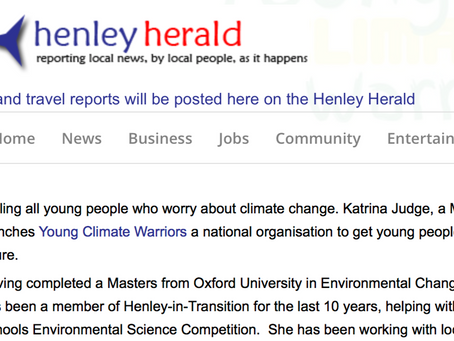 Henley Herald - Young Climate Warriors - sign up for climate change action