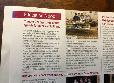 Climate Change is top of the agenda for pupils at St Pirans.  Families magazine. Autumn 2019.