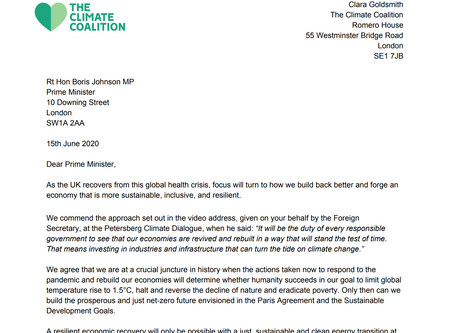Letter to Boris Johnson - Signed by Young Climate Warriors.  Written by The Climate Coalition