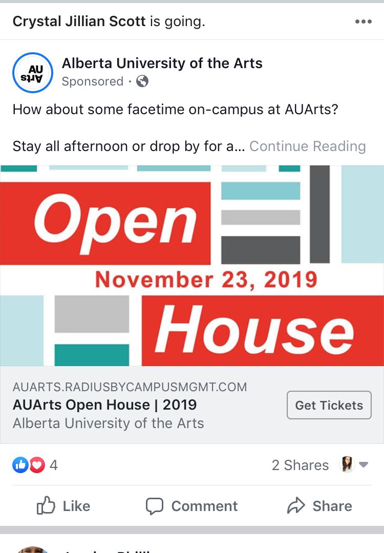 2019 AUArts Open House | Advert