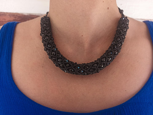 Beaded Tube Necklace Black - Woman's Beading Co-op