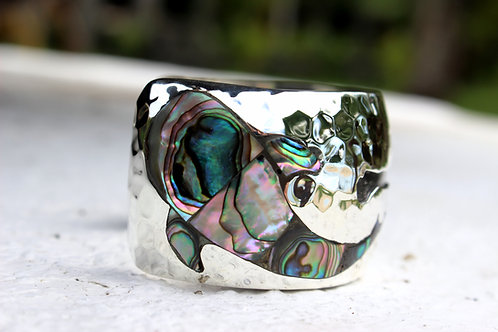 Whale Shark Bracelet With Abalone Shell - Hammered
