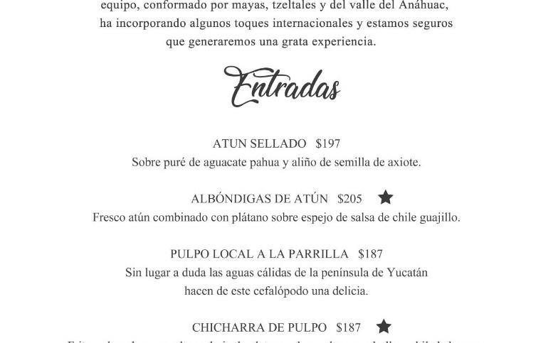 Mayan Beach Club - Isla Mujeres -  Food Menu