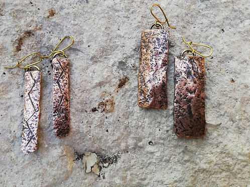 Copper Hammered Rustic Dangle Earrings