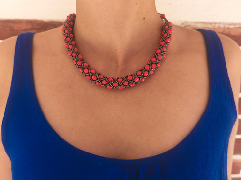 Beaded Tube Necklace Red - Woman's Beading Co-op