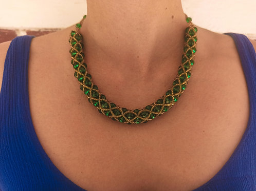 Beaded Tube Necklace Emerald Green - Woman's Beading Co-op