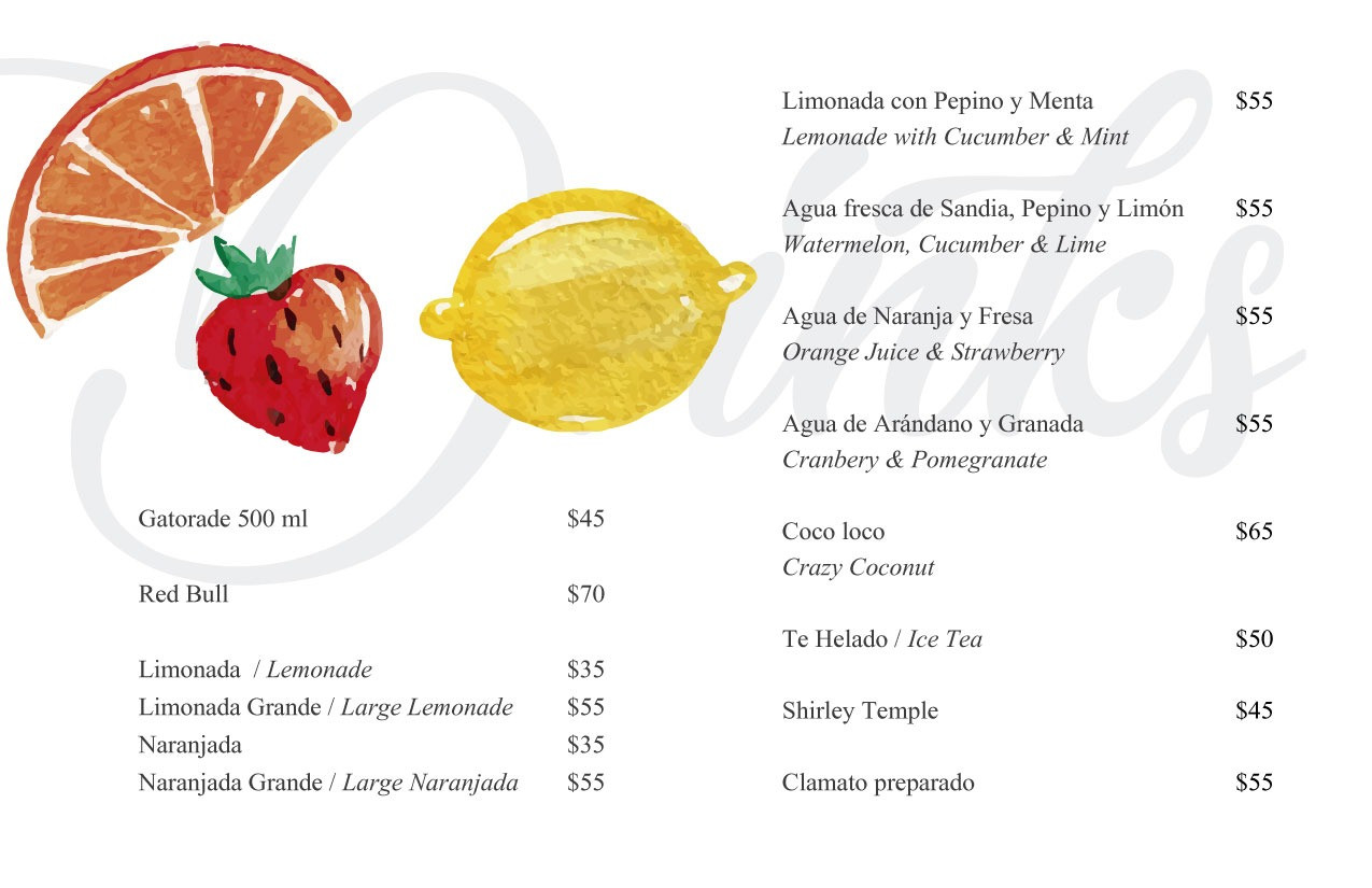 Mayan Beach Club - Isla Mujeres -  Food Menu
