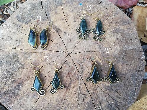Jade Swirly Brass Dangle Earrings