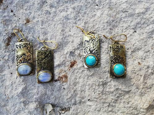 Turqouise + Moonstone Hammered Dangle Earrings