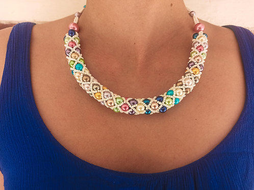 Beaded Tube Necklace White Rainbow - Woman's Beading Co-op