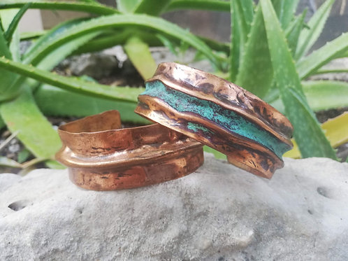 Thick Rustic Copper Patina Cuff