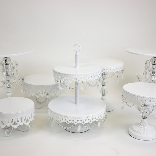 white opulence cake stand set