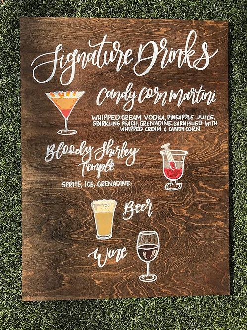 Signature Drinks Wood Sign