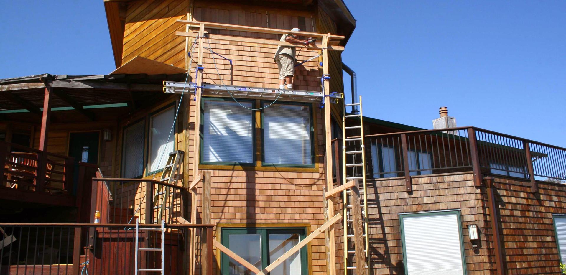 New Cedar Sidewall Shingles Installed