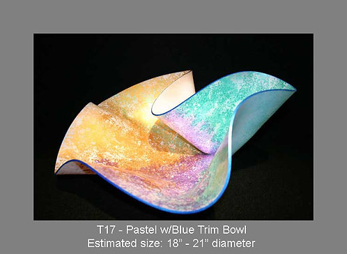 Pastel w/blue trim bowl