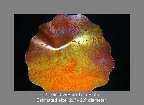 Gold w/blue trim plate