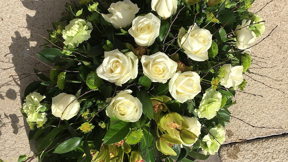 Cream Rose/Green- Double Ended Spray