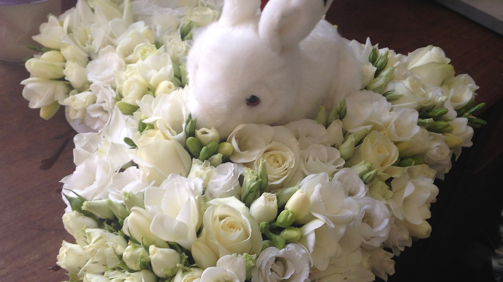 White Rose with Bunny Heart Wreath