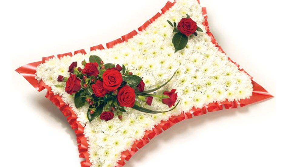 Red Rose and White Cushion