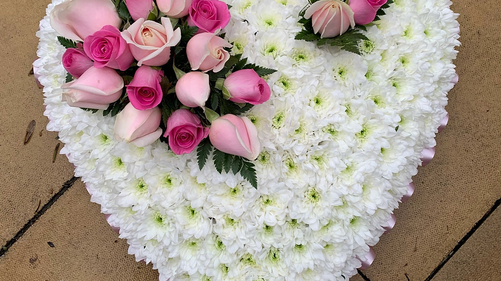 White and Pink Heart Wreath