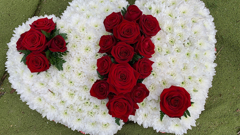 Double White and Red Rose Heart Wreath