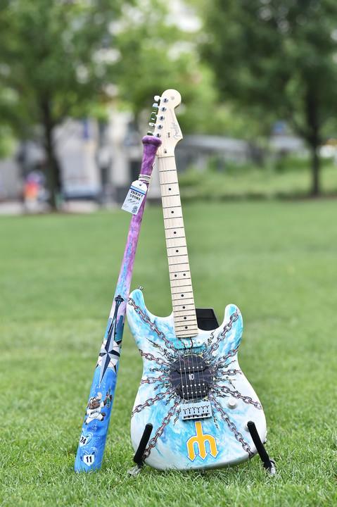 Mariners All Star Game Fender Guitar and Louisvillse Slugger